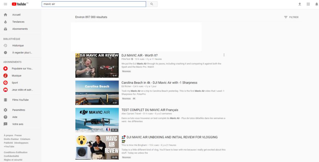 YouTube Mavic Air